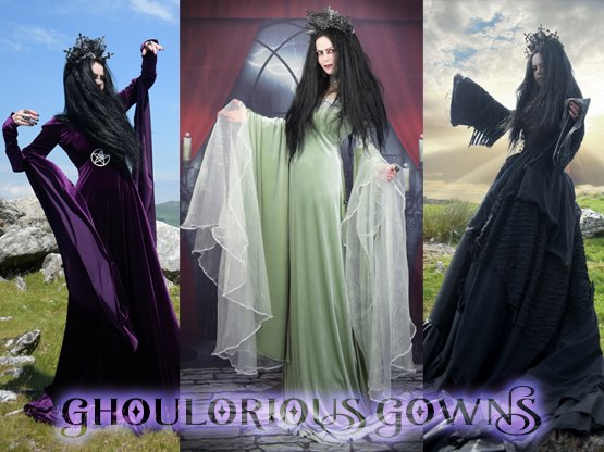 Our stunning range of gothic gowns: Halloween Icons, Steampunk Marvels, and Witchy Wonders by Moonmaiden Gothic Clothing