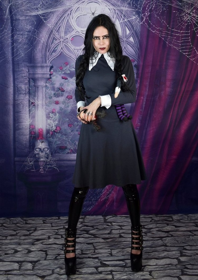 Wednesday Greyday Minidress New Addams Family Cosplay