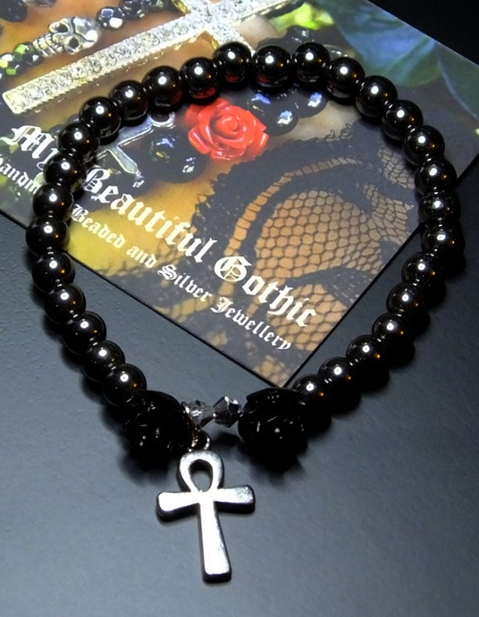 My Beautiful Gothic Black Rose and Ankh Hematite Bracelet
