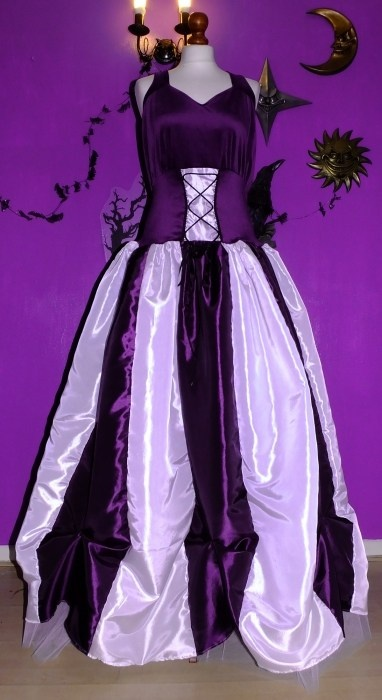 Steampunk Ballgown in Amethyst and White