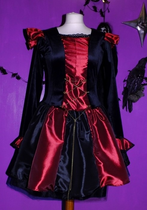 Steampunk Minidress in Black and Claret