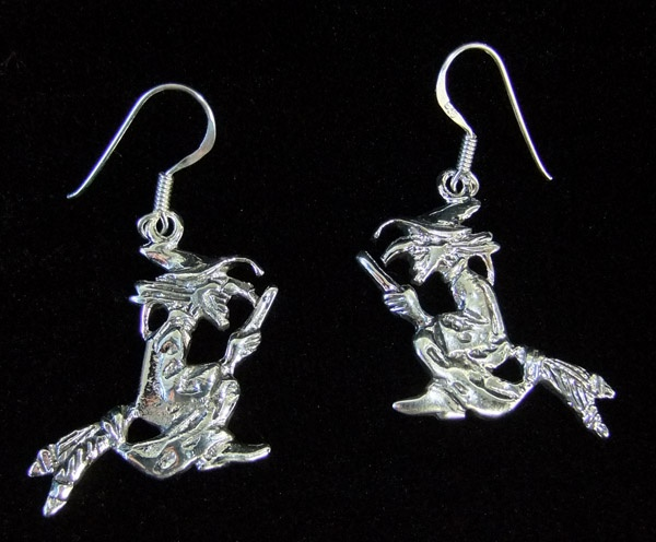 Silver Large Witch Earrings - SALE