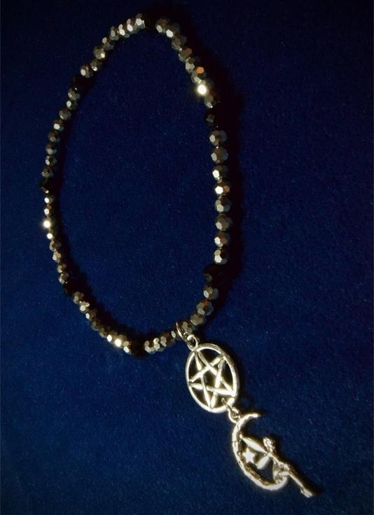 Pentagram and Moon Faery Stretch Anklet