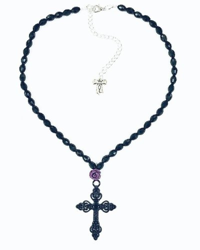 Purple Rose and Ornate Black Cross Necklace
