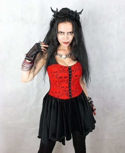 Cadaveria Minidress 8-10 Black and Red
