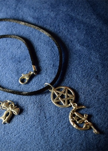 My Beautiful Gothic Pentagram and Moon Fairy Necklace