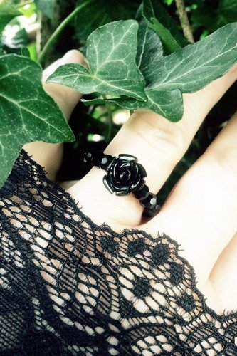 Black Rose & Crystal Bead Stretch Ring