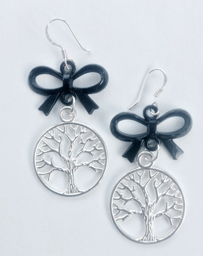 My Beautiful Gothic Tree of Life & Bow earrings