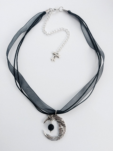 My Beautiful Gothic Moon & Lava Rock aromatherapy necklace