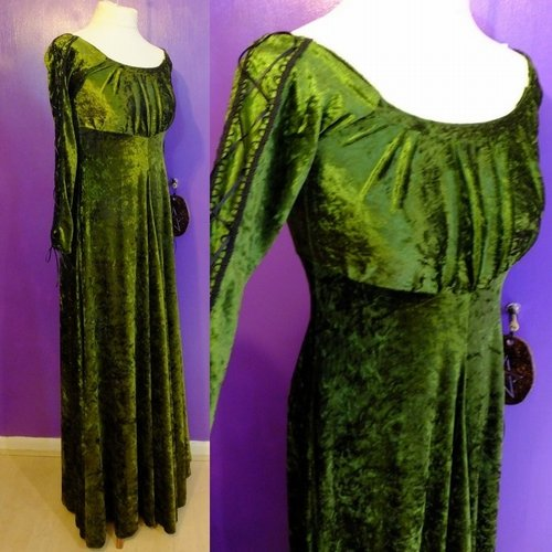Esteriel Gown in all Olive Velvet