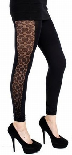 Lace Side Footless Tights - SALE