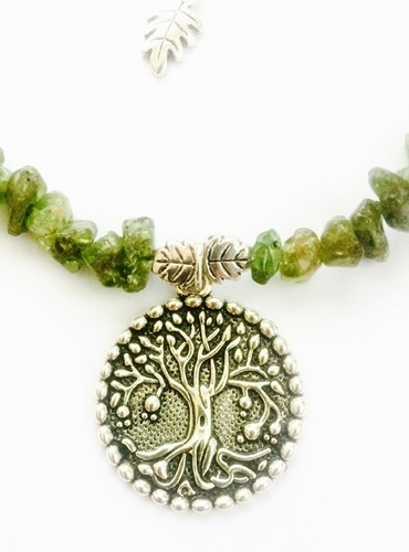 My Beautiful Gothic Peridot Gemstone & Tree Of Life Choker Necklace