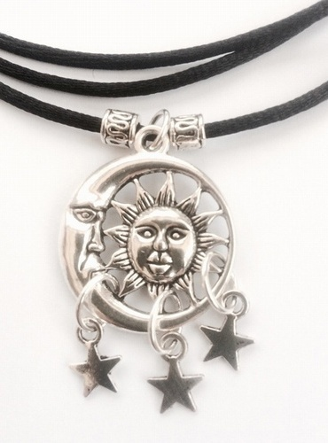 My Beautiful Gothic Sun, Moon & Stars wrap-around Choker