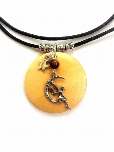 Wooden Necklace with Tibetan Silver Moon-Faerie, Star and Tiger's Eye