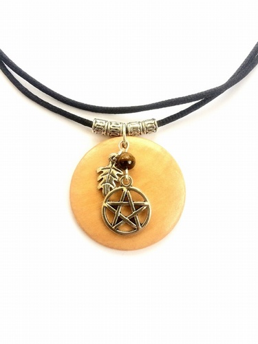 Wooden Necklace with Tibetan Silver Pentacle Leaf and Tigers Eye