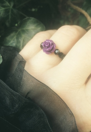 Purple Rose & Black Crystal Bead Stretch Ring